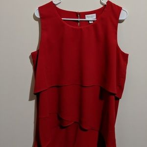 Red layered high low tank